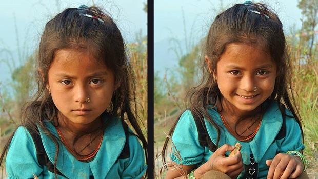 Menina que sorriu após ganhar biscoitos de viajante do Sul de Minas no Nepal (Foto: Arquivo Pessoal)
