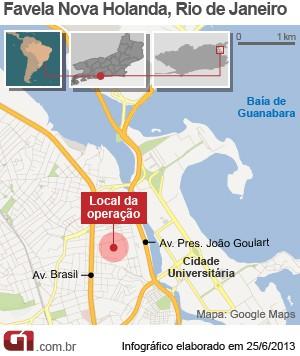 Favela Nova Holanda, na Maré (Foto: Editoria de Arte/G1)