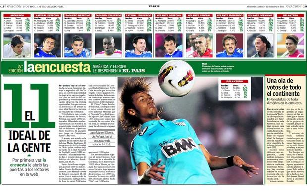 jornal seleção de 2012 das américas El País (Foto: Reprodução)