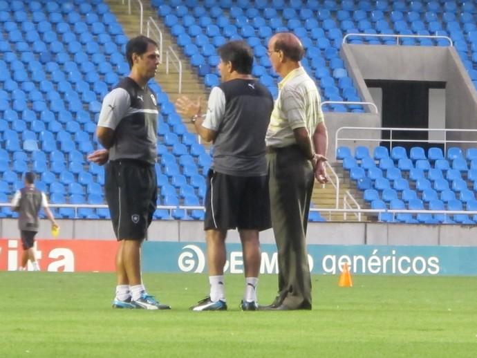 René Simões, Antônio Lopes, Marcello Campello Botafogo treino (Foto: Gustavo Rotstein)