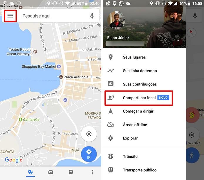 Google Maps tem nova função de compartilhar localização em tempo real (Foto: Reprodução/Elson de Souza)
