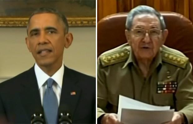Montagem - Pronunciamento de EUA e Cuba (Foto: Reprodução/GloboNews)