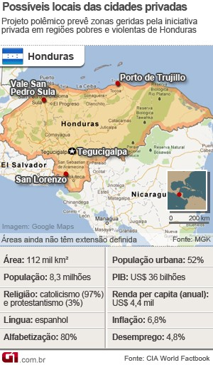 mapa_honduras_cidades_modelo_300 (Foto: Editoria de Arte / G1)