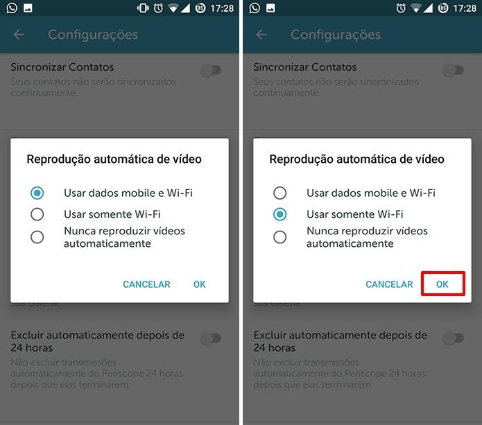 Escolha se deseja reproduzir vídeos automáticos no Periscope no 3G, Wi-Fi ou nenehum (Foto: Reprodução/Elson de Souza)