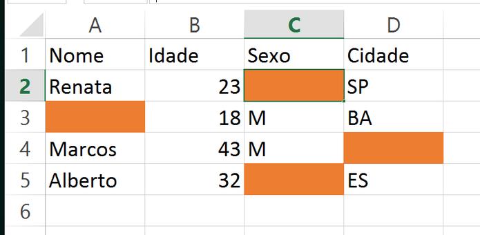 Preencha as células em branco de uma planilha do Excel (Foto: Reprodução/André Sugai)