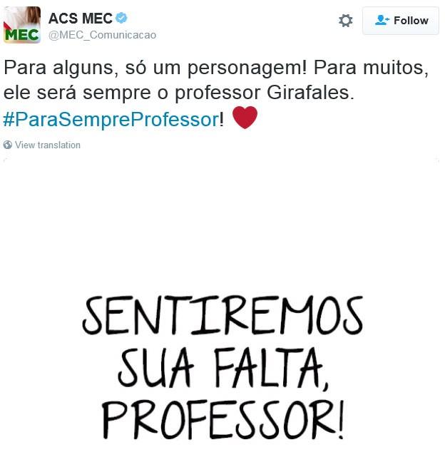 Assessoria de Comunicação Social do Ministério da Educação fez homenagem ao Professor Girafales no Twitter (Foto: Reproducao/Twitter/MEC_Comunicacao)
