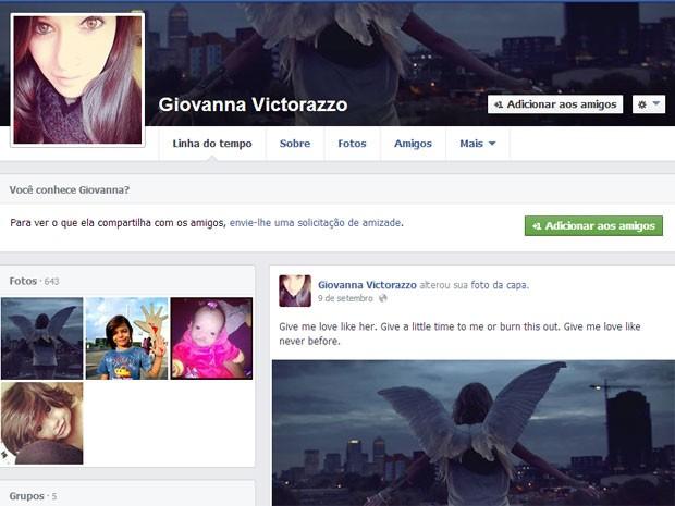 Adolescente postou foto de anjo em sua página do Facebook (Reprodução/Facebook) (Foto: Reprodução/Facebook)