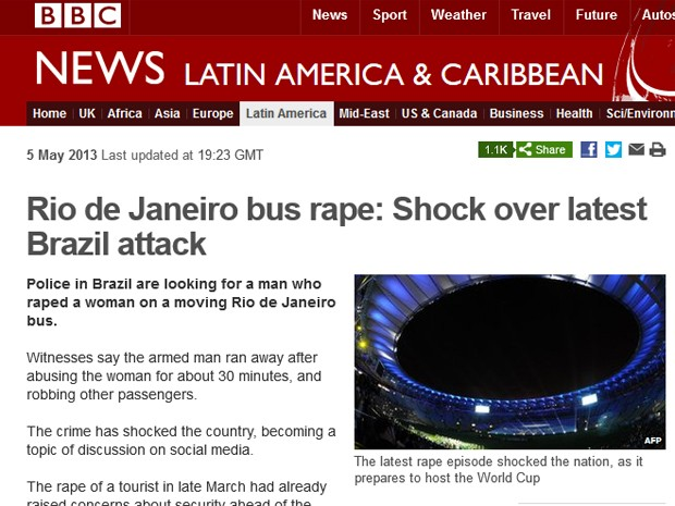 Site da 'BBC' colocou uma foto do Maracanã e lembrou a proximidade da Copa (Foto: Reprodução / Site da BBC)