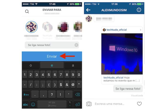 Enviando uma foto do feed para um amigo via mensagem direta do Instagram (Foto: Reprodução/Marvin Costa)