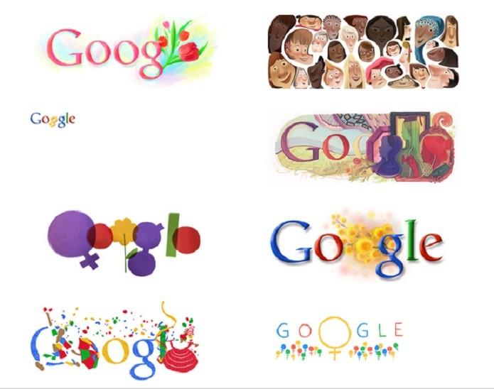 Doodles antigos do Dia Internacional da Mulher no Google (Foto: Reprodução/Google)