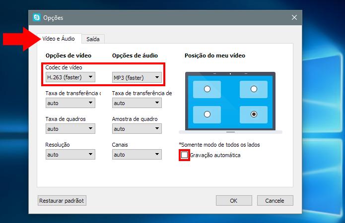 Configure áudio, vídeo e gravação automática (Foto: Reprodução/Paulo Alves)