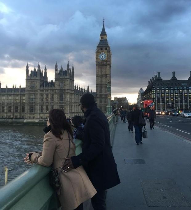 Fernanda Souza e Thiaguinho em Londres, na Inglaterra (Foto: Reprodução/Instagram)