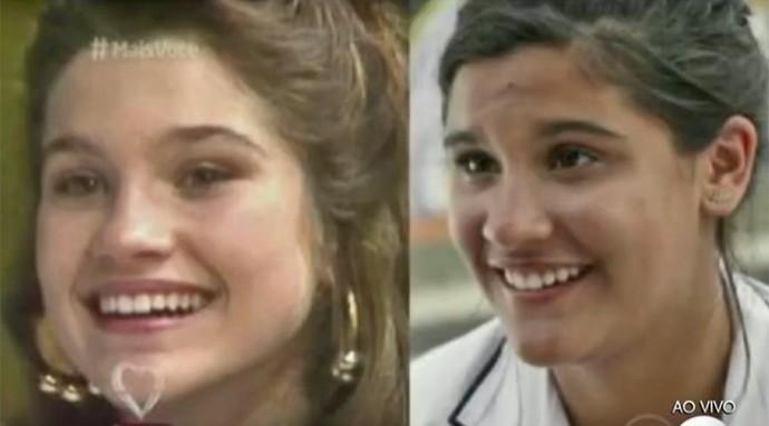 'Vídeo Show' mostra imagens de Flávia Alessandra e Giulia Costa no início de suas carreiras (Foto: Vídeo Show / TV Globo)
