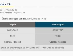 CBF altera horário de ASA e Águia de Marabá-PA pela Série C (Foto: Reprodução Site/CBF)