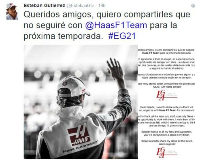 Esteban Gutiérrez afirma que sai da Haas em 2017 (Foto: Reprodução)