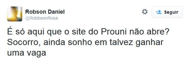 Candidatos usam Twitter para reclamar de site do Enem (Foto: Reprodução/Twitter)