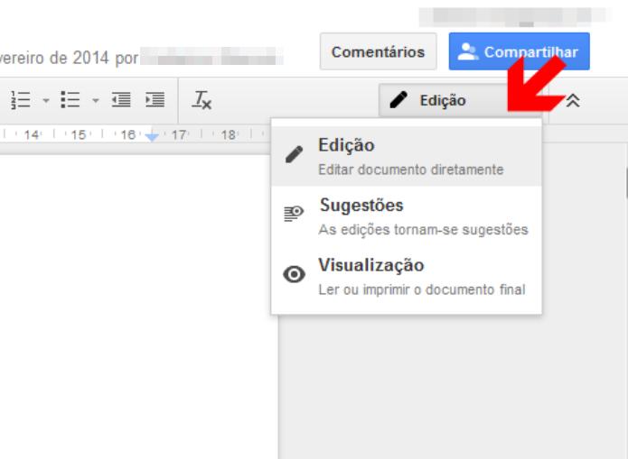 Editando um documento no Google Docs (Foto: Reprodução/Lívia Dâmaso)