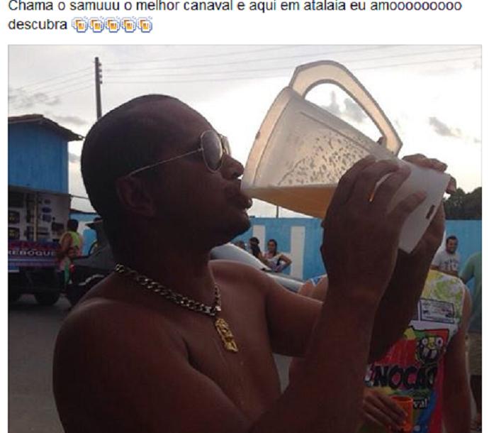 Aloísio Chulapa toma cerveja em copo de liquidificador (Foto: Reprodução Instagran)