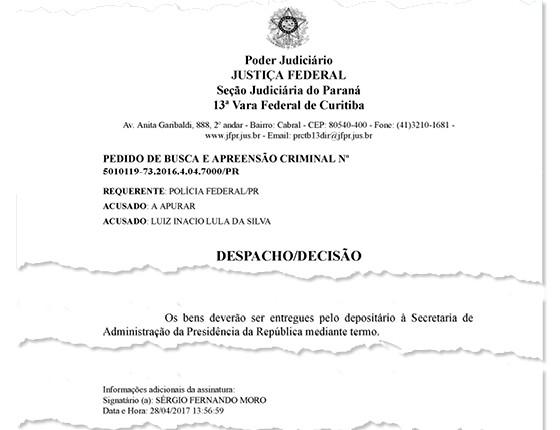 Moro autoriza devolução de bens apreendidos de Lula (Foto: Reprodução)