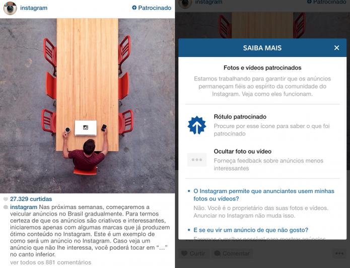 Instagram faz um post patrocinado na rede para avisar seus usuários que a prática será comum (Foto: Divulgação)