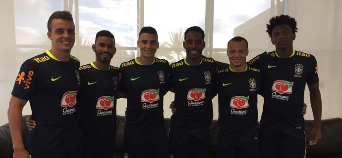Rodrigo Figueiredo, Marquinhos, Mantuan, Romão, Natan e Franklin, Corinthians (Foto: Divulgação/Ag. Corinthians)