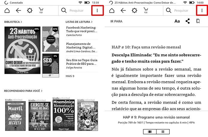 Usuário deve tocar nas reticências do menu da tela inicial ou de leitura (Foto: Reprodução/Elson de Souza)