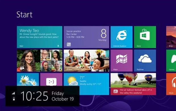 O Windows 8 é um sistema operacional renovado. Com tela inicial com mosaicos, traz uma interface totalmente nova, com funcionalidade tátil (Foto: Divulgação/Microsoft)