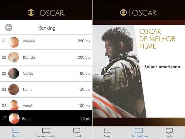Usuários ganham pontos com a participação e podem entrar no ranking do app (Foto: Reprodução/Globo)