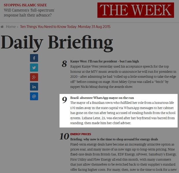 Em pequena nota, The Week britânica comenta suspeita de corrupção no Maranhão (Foto: Reprodução / The Week UK)