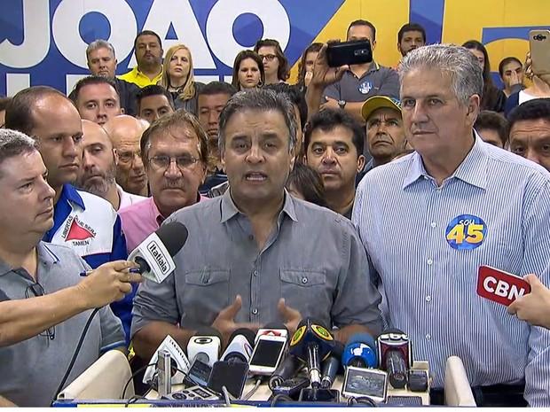 Presidente do PSDB e senador Aécio Neves discursa em Belo Horizonte (Foto: Reprodução/TV Globo)