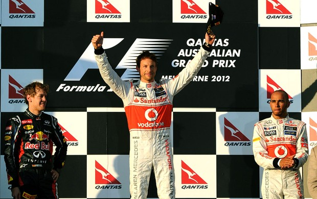 Button, Vettel e Hamilton no pódio do GP da Austrália (Foto: AFP)