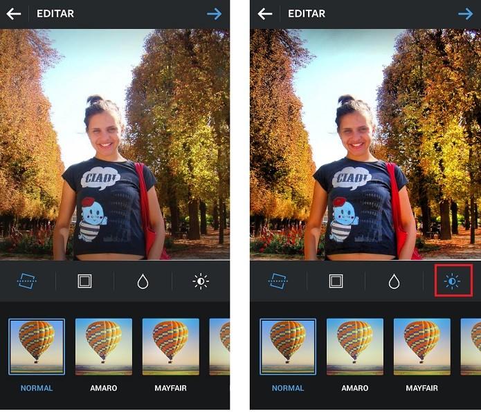 A ferramenta de brilho é diferente nas versões para Android e iOS (Reprodução/Taysa Coelho)