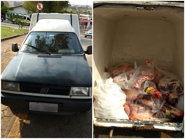 Pai e filho transportavam carnes em carro sem refrigeração (Foto: Divulgação/ PM Tatuí)