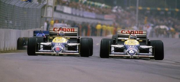 Nelson Piquet e Nigel Mansell no GP da Austrália de 1986 (Foto: Getty Images)