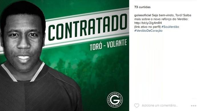 Goiás anuncia contratação de Toró (Foto: Reprodução / Instagram)