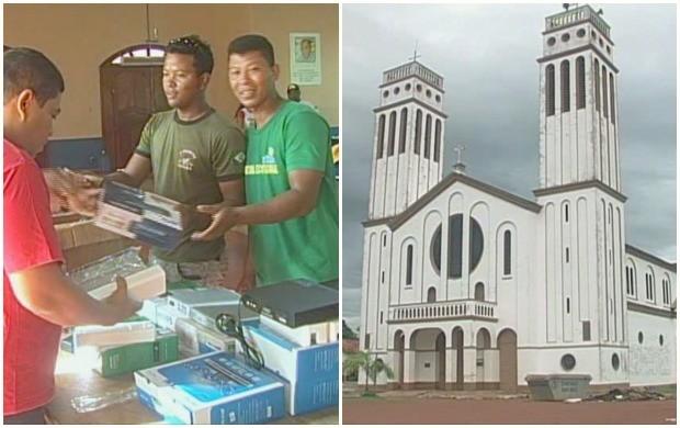 Fiéis fazem bazar para reformar Catedral Nossa Senhora dos Seringueiros, em Guajará-Mirim (Foto: Rondônia TV)