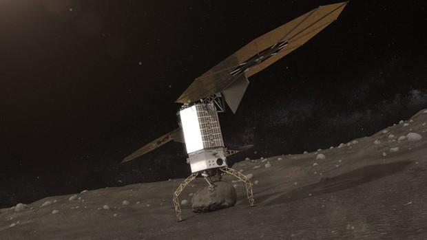 Bloco de asteroide é capturado pela nave para ser, em seguida, colocado em órbita ao redor da Lua (Foto: Asteroid Initiative/Nasa)