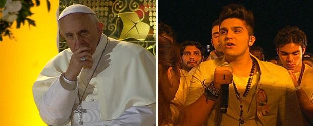 luan santana e papa (Foto: Reprodução/GloboNews)