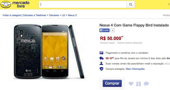 No Brasil, produto mais caro com o Flappy Bird instalado é ofertado a R$ 50 mil; usuários fazem perguntas irônicas ao vendedor (Foto: Reprodução/Mercado Livre)