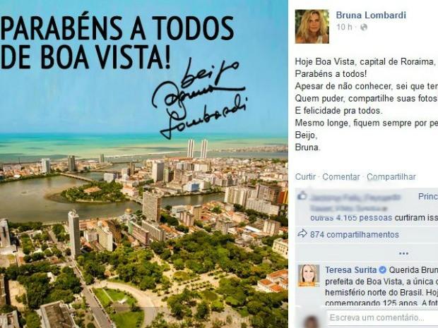 Atriz parabenizou os 125 anos de Boa Vista, capital de Roraima, mas publicou foto de bairro do Recife (Foto: Reprodução/Facebook)