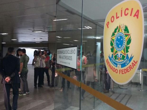 Entrada do espaço onde fica lotada a Polícia Senado, no Congresso Nacional (Foto: Elielton Lopes/G1)