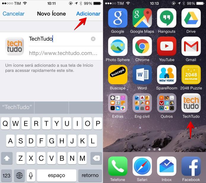 Adicionando atalho à tela inicial do iOS (Foto: Reprodução/Helito Bijora)  (Foto: Adicionando atalho à tela inicial do iOS (Foto: Reprodução/Helito Bijora) )