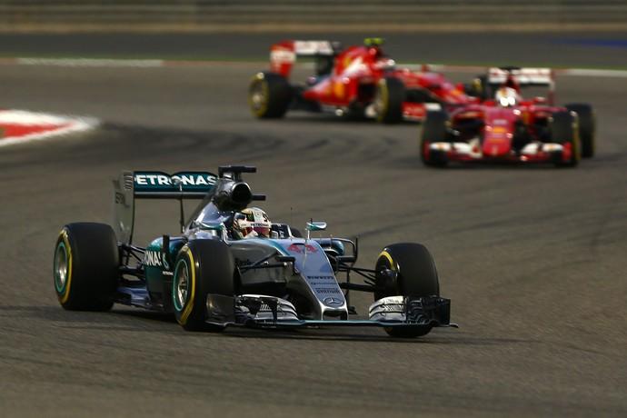 Lewis Hamilton, Sebastian Vettel e Kimi Raikkonen no GP do Bahrein (Foto: Getty Images)