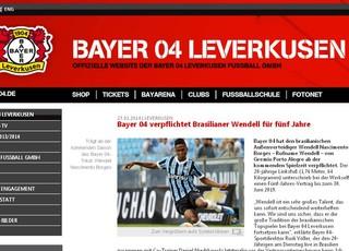 Wendell é anunciado no site do Bayer Leverkusen (Foto: Reprodução)