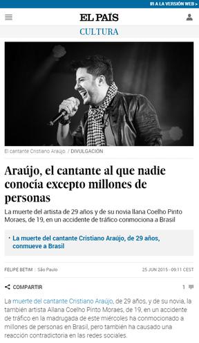 El Pais repercurte  morte de Cristiano Araújo (Foto: Reprodução)