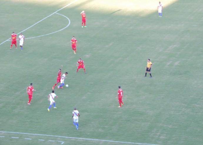Grêmio Prudente (vermelho) é o terceiro colocado na competição estadual (Foto: Ronaldo Nascimento / GloboEsporte.com)