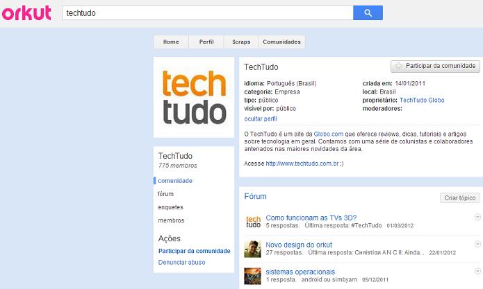 Comunidade do TechTudo no Orkut (Foto: Reprodução/Thiago Barros)
