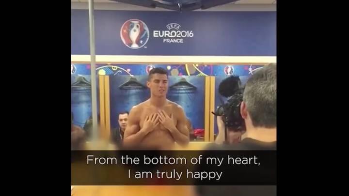 Cristiano Ronaldo em discurso após o título da Euro (Foto: reprodução )
