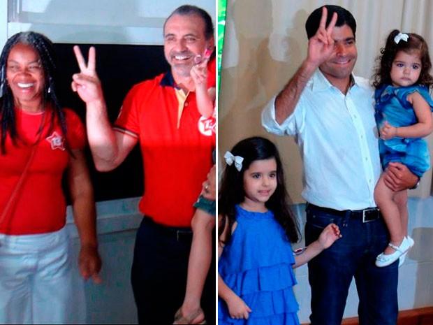 Candidatos a prefeito de Salvador, Nelson Pelegrino e ACM Neto votam  (Foto: Ruan Melo/ G1)