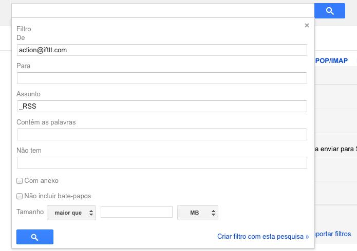 Definindo filtros para os e-mails do IFTTT (Foto: Reprodução/Helito Bijora)